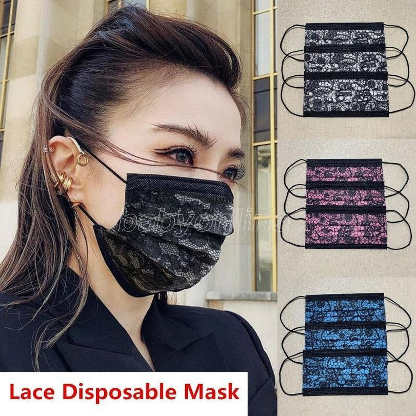2021 дизайнерские кружева одноразовые маски для лица для взрослых нетканые лица маска для лица анти пыль мода открытый на велосипеде PM2.5 маски FY0105