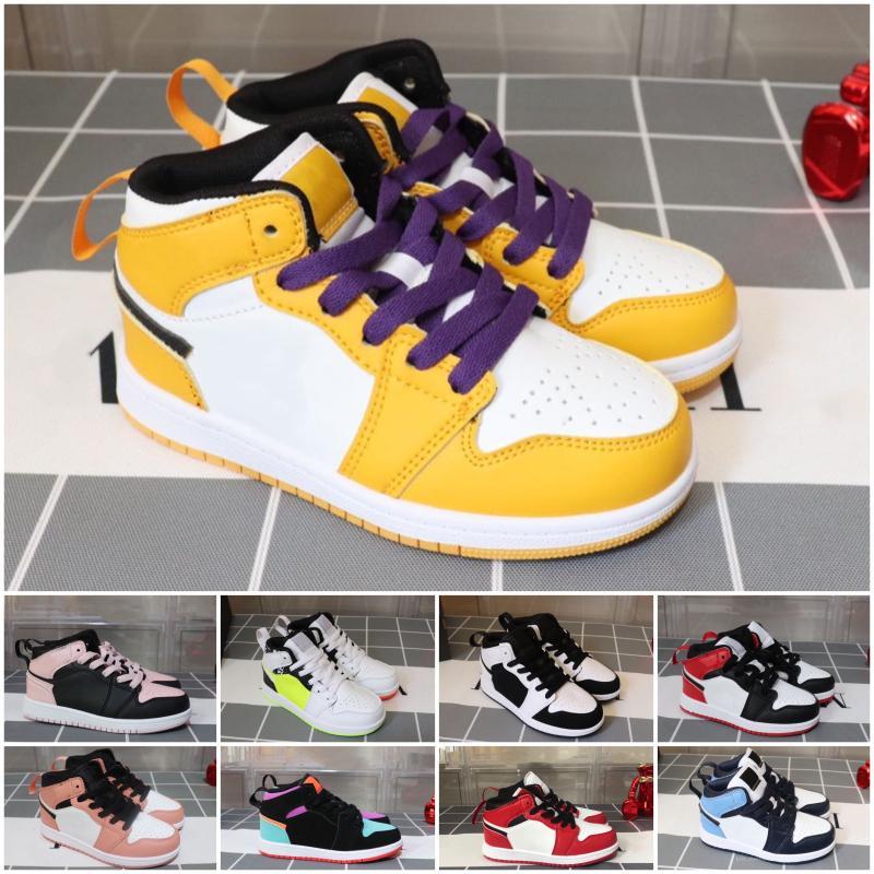 scarpe per bambini 1 1s scarpe da basket Bambini Boy Girl 1 Top 3 Bred Nero Bianco Rosso Dimensione scarpe da tennis 26-35