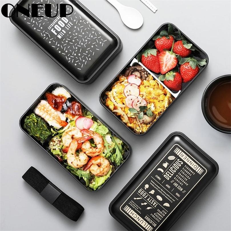 OneUP BPA Free Lunch Box Double-Layer Portátil Bento Box Eco-Friendly Food Recipiente com compartimentos Microwavable 201210