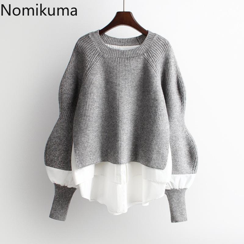 Nomikuma outono inverno de malha mulheres pulseira camisola Causal retalhos manga comprida o-pescoço pull femme coreano jumpers 6b728 201031