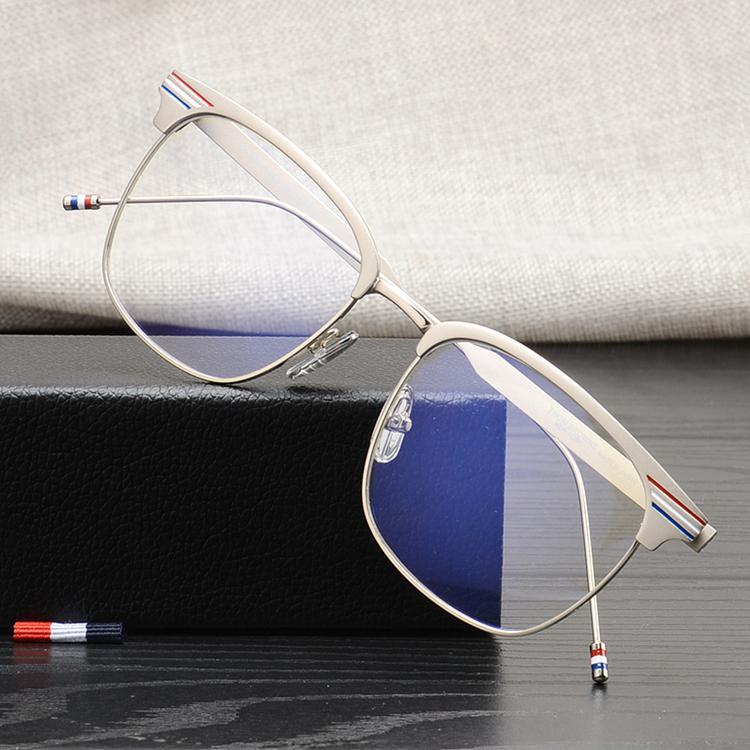 Высококачественные очки Рыболовные рамки Металлические Простые глазные Солнцезащитные очки для мужчин и квадратных Thom Brand Travel Women Caided TB104 Чтение AVLOL