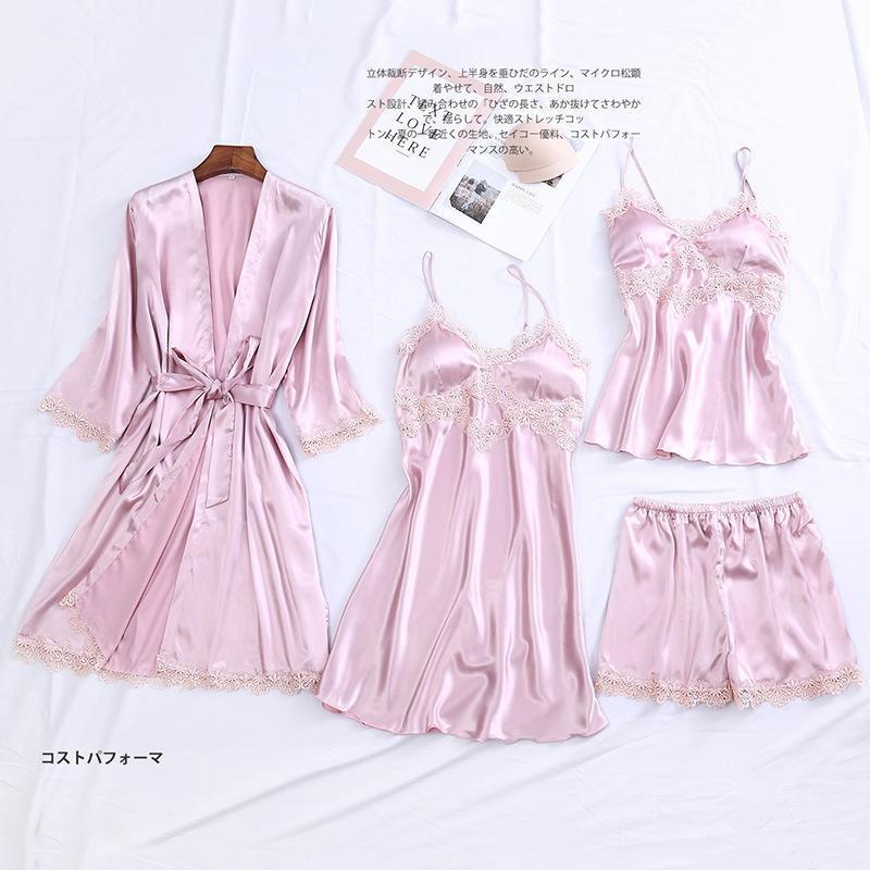 Sono Set noiva dama do Robe Casual cetim Roupa de Noite Pijamas Mulheres Silky Intimate Suit Lingerie Pijamas Sexy 4PCS