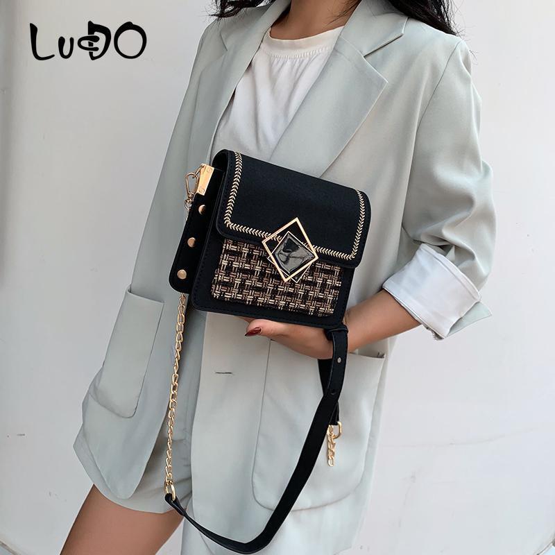 LUCDO sacos para as mulheres Scrub Couro Weave Crossbody Messenger Bag Ombro Feminino Flap cadeia de luxo Bolsas Bolsas Sac à main
