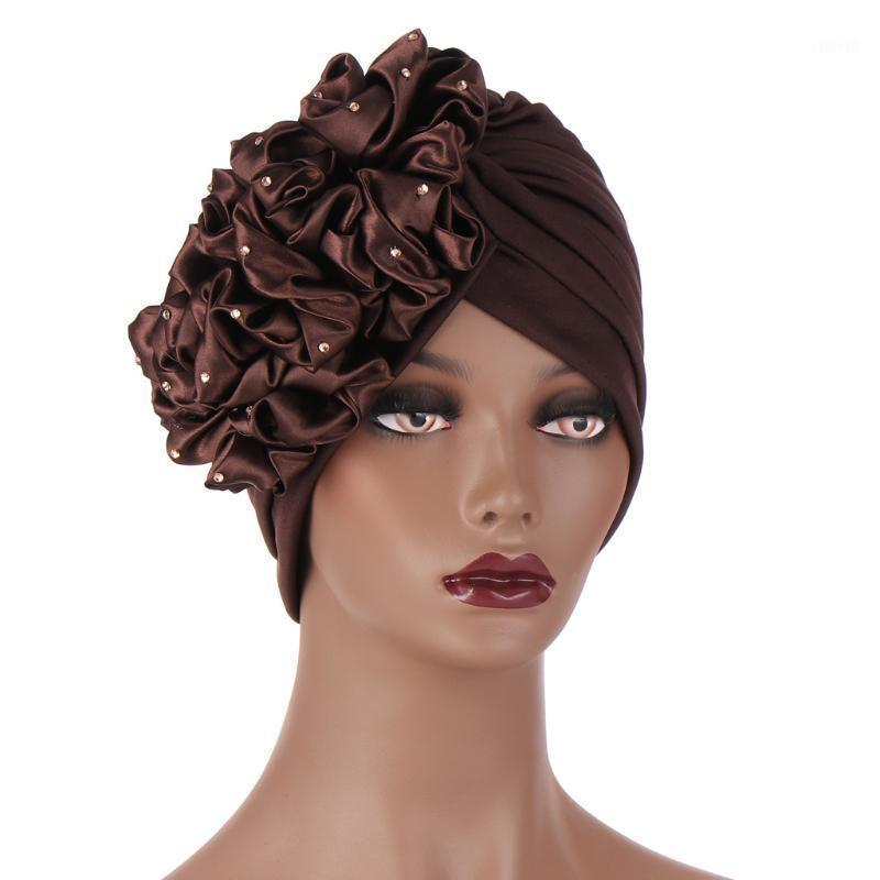 Donne Accessori per capelli Turban Capelli musulmani Sciarpa Tally Big Flower Head Cappello Cappello da donna perdita di capelli Africana Turban Cap Beanie1