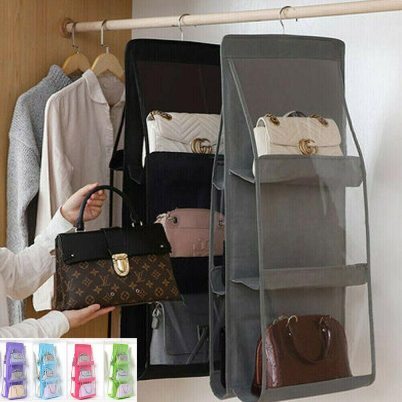 6 جديدة جيب قابلة للطي شنقا حقيبة يد محفظة التخزين حامل واضح كبير مضاد للغبار المنظم حامل المعلق هوك 7 اللون