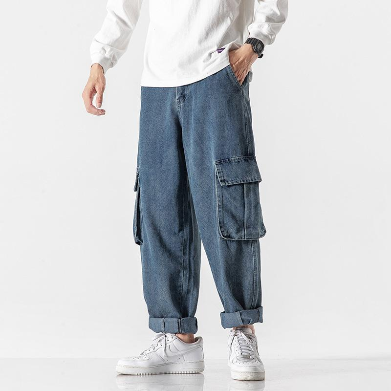 Jane Jane Eyre Multi Pocket Jeans allentato Tube dritto Goccia Sensazione di pantaloni a gamba larga Pantaloni da uomo Tuta da uomo Brand