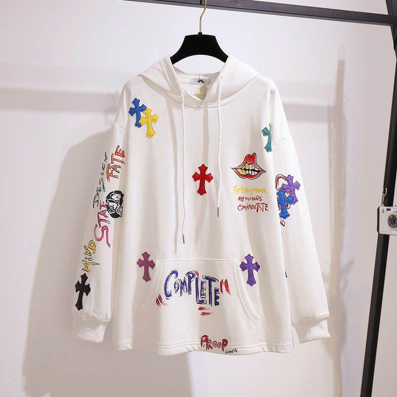 sweat-shirt imprimé coton d'automne, plus buste taille 157cm 6XL 7XL 8XL 9XL 10XL femmes hoodie lettre lâche manches longues blanc