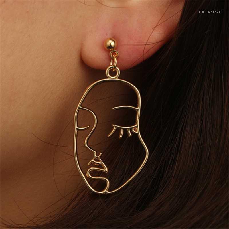 AILODO VISAGE Boucles d'oreilles 2020 Femmes Punk Gold Abstrait Visage humain Boucles d'oreilles Unique Design Party Banquet Dangle 19nov501
