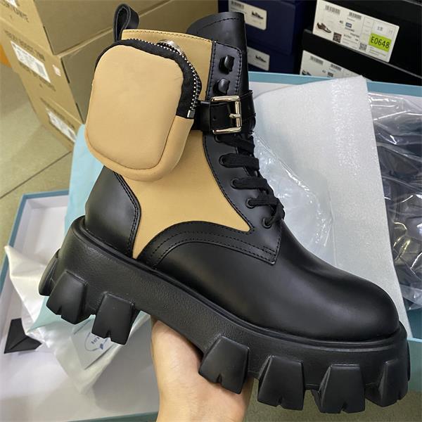 여성 모노리스 모피 부츠 Rois 나일론 전투 부츠 가죽 발목 마틴 부츠 파우치와 함께 파우치와 함께 고무 솔 플랫폼 신발