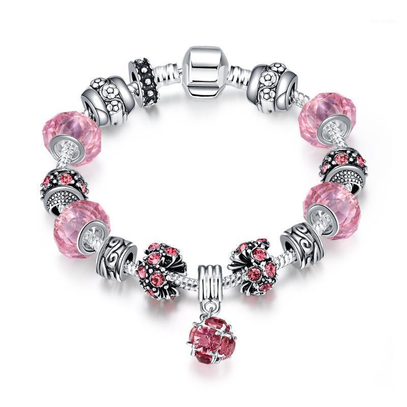 Charm Pulseras de moda estilo europeo para las mujeres Pulsera de color plata Bricolaje Joyería DIY Rosa Crystal Murano Beads PDRH009-C1