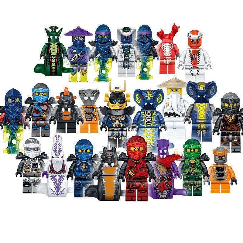 24 pcs ninjago mini figuras construindo blocos figura boneca figuras de ação construindo brinquedos para crianças coletando figuras de tijolos divertidos presente c1115
