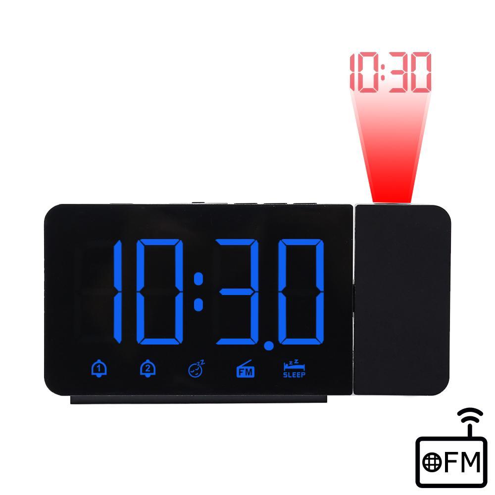 Fanju Montre numérique Réveil Horloge FM Radio Temps de nuit avec projecteur mural de bureau Table électronique Horloges Accueil