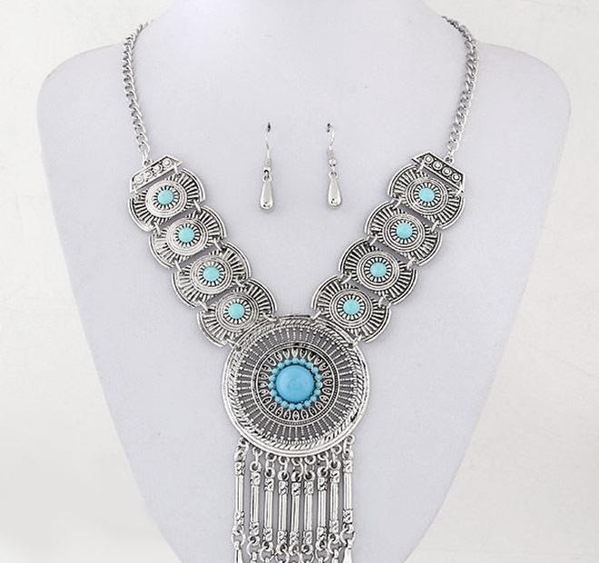 Wedding Bridal Circle Part Pendant Necklace Earrings Jewelry Sets For Wome wmtjMQ dayupshop