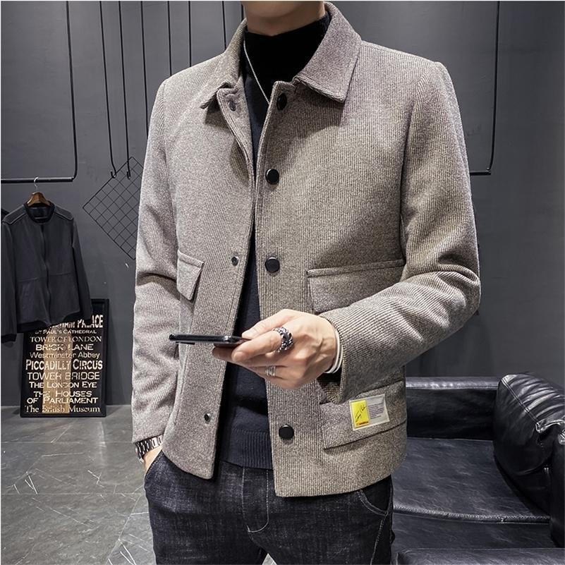 Sonbahar ve Kış Yün Karışımları Mont Katı Kısa Erkekler Casual Ceketler Erkek Palto Kore Yün Rüzgarlık Marka Giyim 20123