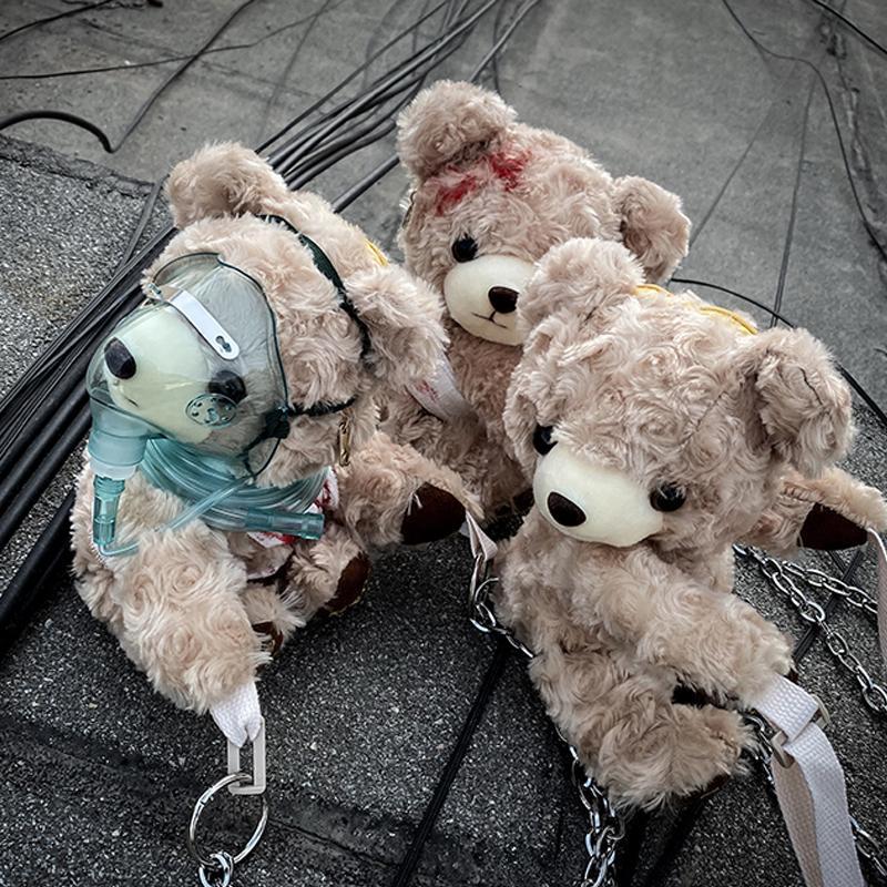 Смешного Sling Bag Horror Dark Fashion Sick медведь плюш игрушка Крест тело сумка C1026