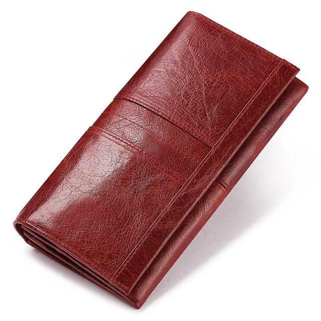 Portafoglio in pelle di alta capacità Anti Theft donna di alta qualità spazzola telefono mobile Bag Multi Card Bag Moda a lungo