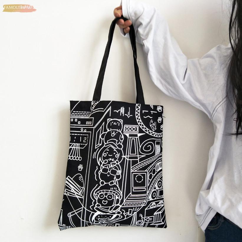 Печать на холсте Art Сумка для женщин Мода Символы Многоразовые Большие Capacityhandle сумок Crossbody сумка Болса Feminina