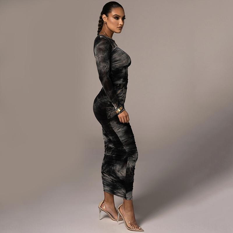 VHDR Fantoye Yaz Halter V Yaka Parti Bodycon 2019 Sonbahar Kadın Örme Seksi Ince Elbiseler Bandaj Uzun Maxi Elbise Vestidos MX190727