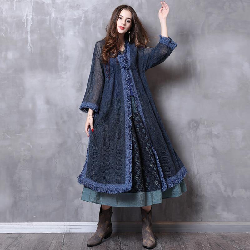 Fairynatural Bayanlar Mavi Retro Hırka Püskül Kazak 2021 Sonbahar Bahar Uzun Kollu Casual Kadınlar Uzun Pamuk Karışım Kazak