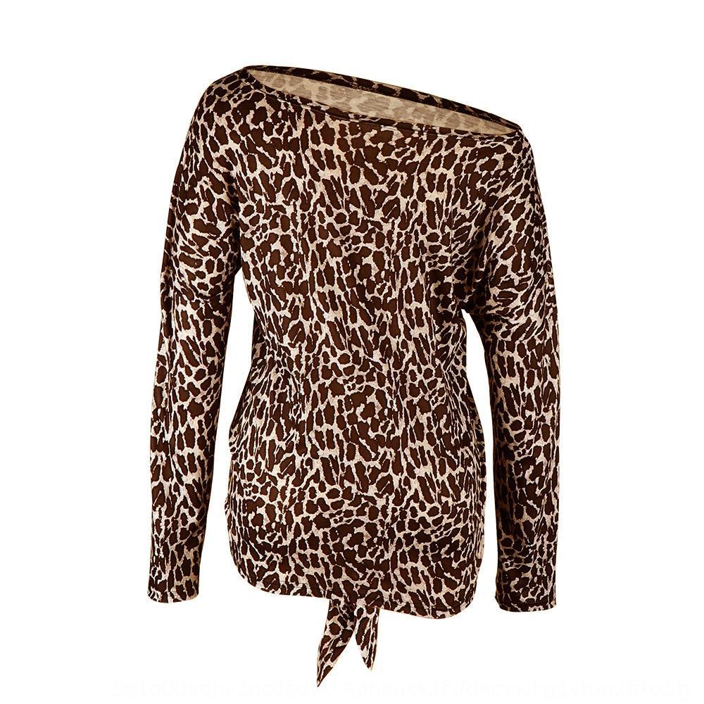cqlZR otoño y del escudo un hombro estampado leopardo camiseta de manga de las mujeres de invierno tapa de la camiseta larga de las mujeres para u0pnE