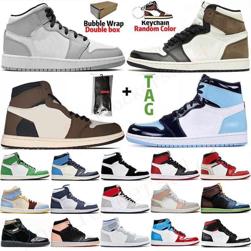 1s Light Smoke Grey UNC Mens Basketball Shoes Jumpman 1 High Travis Scotts Dark Mocha Obsidian Trainers Mushroom Sports Sneakers Size 36-47