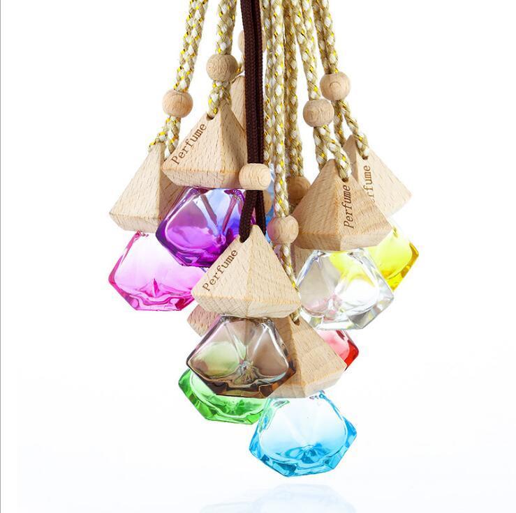 9 colores Coche Perfume Botella Colgante Aceite Esencial Difusor Bolsa Adornos Agentes Azules Azules Colgante Vacío Botellas de vidrio