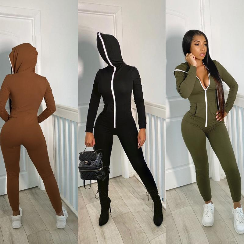 Oluolin Women Sexy Jumpsuit Long Sleeve Bodycon Solid Winter Sport Fitness Bodysuits High Elasticity Zippers Playsuits Outdoor