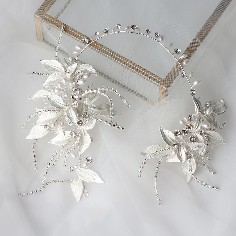 Asnora Accessoires de Cheveux de Mariage Argent Haute Talite Strass Perle Fleur Vigne Chapellerie Bijoux A La Principal W0104
