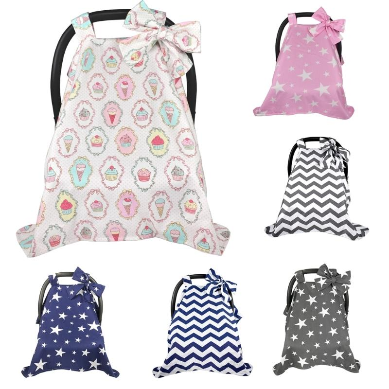 Cotton Baby Car Seat Canopy Cover Infant Children Stripes Stars Carseat Covers Dropship 201026