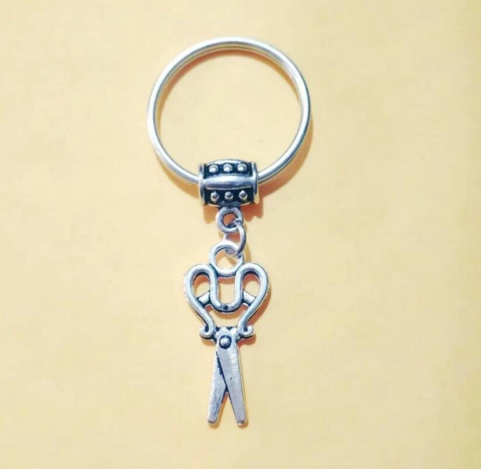 NEW HOT Fashion jewelry Beautiful Scissors Keychain - charm pendant key chain ring DIY Fit Keychain - 200