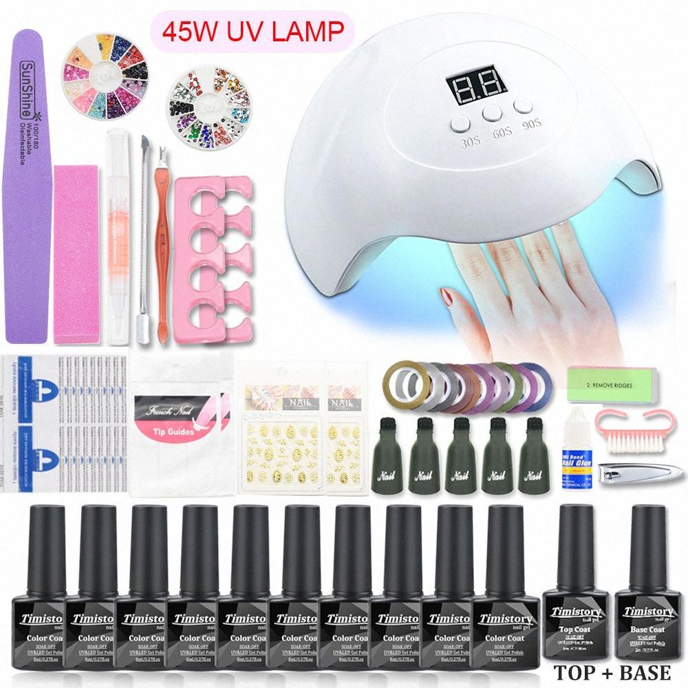 45W UV Nail Lambası Manikür Seti 10 / Jel Oje Akrilik Kiti Jel Vernik Polonya UV Uzatma Seti Sanat Araçları SZyU #