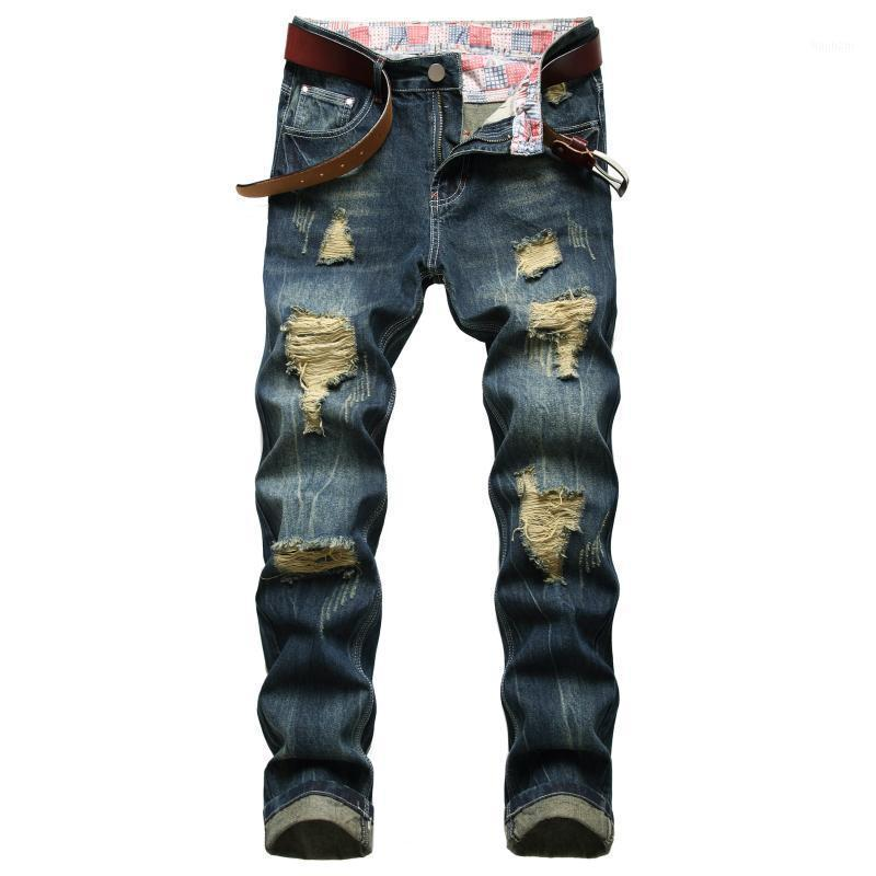 Hole Jeans Men Vintage Ripped Bleached Autumn Winter Casual Full Length Denim Straight Trousers1