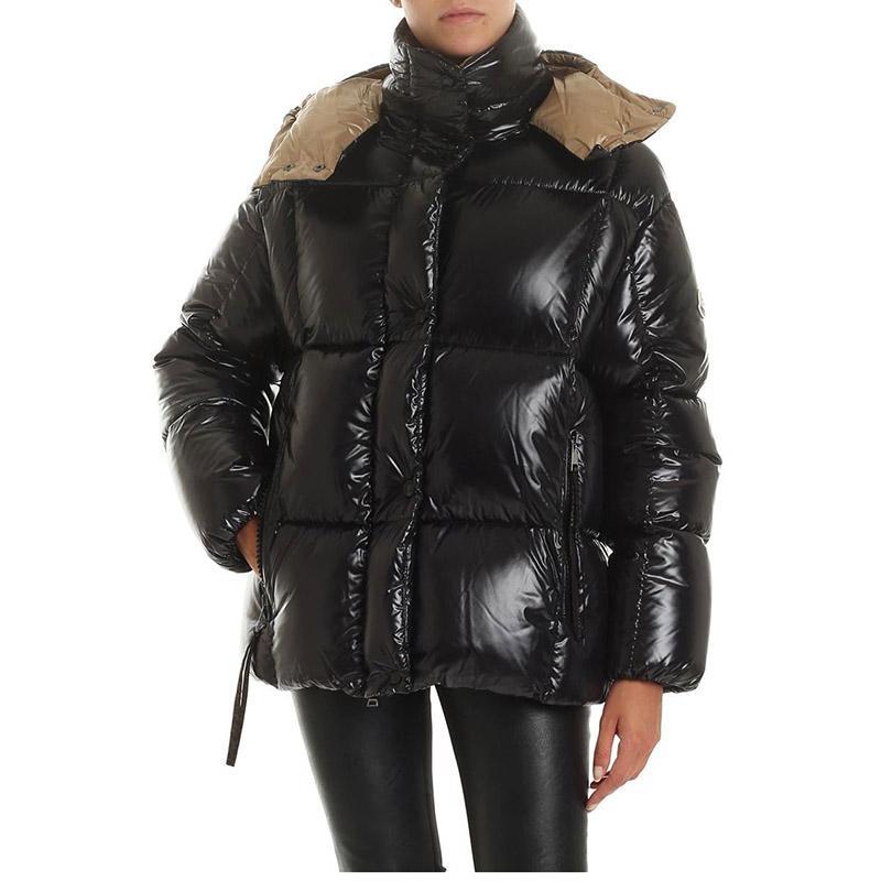 20FW النساء في فصل الشتاء سترة معطف أزياء في الهواء الطلق المرأة سترة أسفل سترة الكلاسيكية معطف فراء أسود عارضة الدافئة خارجية مع مقنع
