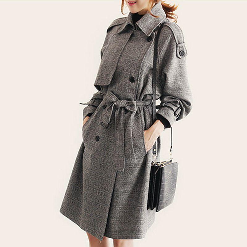 Требовое пальто для женщин в европейском стиле мода длинный образец Верхняя одежда женская повседневная двубортное пальто FZ1495