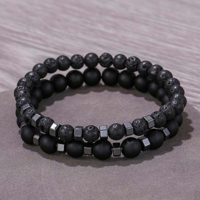 2 Pz / Set Blackallstone Black Gallstone Spacer Stone Volcanic Stone Stone Combinazione Bracciale Bracciale in perline Set per uomini regalo gioielli accessorio