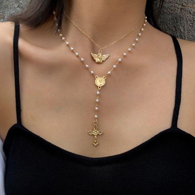 Accessori di moda nappa angelo perle imitazione collana Croce Vintage multistrato regalo per le donne fascino Gioielli Regali