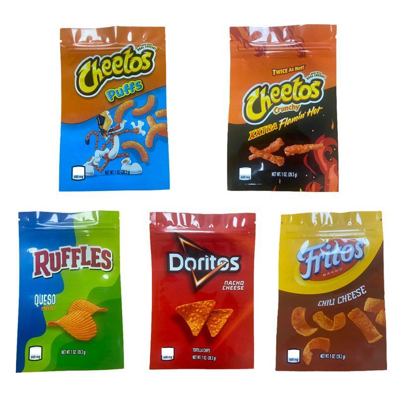 1oz sacos de microplaqueta Cheetos babados Doritos Fritos Flamin Queijo Quente Gummy Comestible Bags