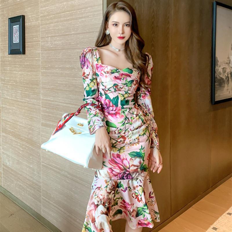 Przypadkowe sukienki 2021 Jesień Zima Koreański Styl Streetwear Damska Z Długim Rękawem Midi Trąbka Osłona Retro Wrap Kwiatowa Przyczynowa elegancka sukienka