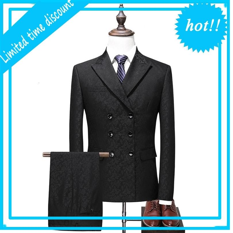 Doppi Breasted Pack Men 2021 Slim fit Wedding Suits Black Grey Packages con brevi termini di business