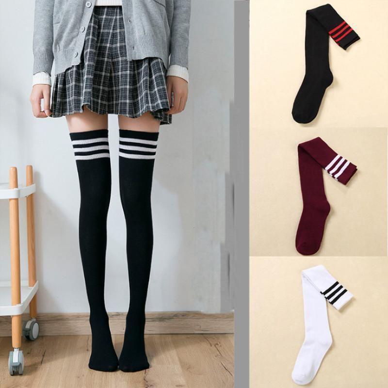 Sexy meias listradas longo Sock Mulheres Long meias Aqueça Coxa alta meias para Listrado Moda de Nova Senhoras Meninas joelho Sock Mulheres