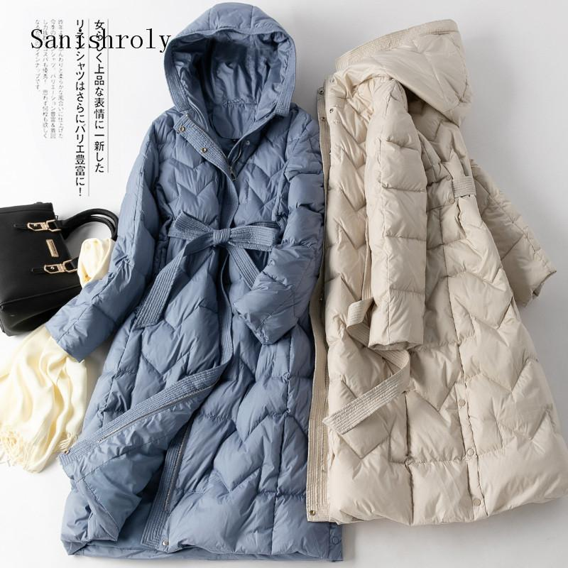 Sanishroly Winter Warm Thicken White Duck Down Jacket Women With Sashes Long Coat Parka Female Hooded Outerwears Plus Size S1031