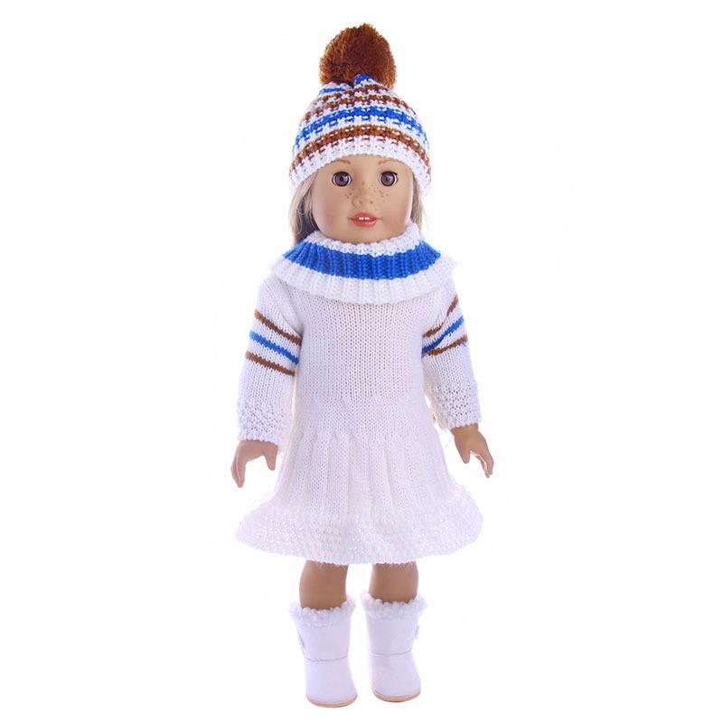 Larga suave de la manga del suéter de la falda de sombreros Conjunto Tops vestido de invierno cálido ropa de sport Accesorios de ropa por 18 pulgadas muñeca Barbie niños de juguete