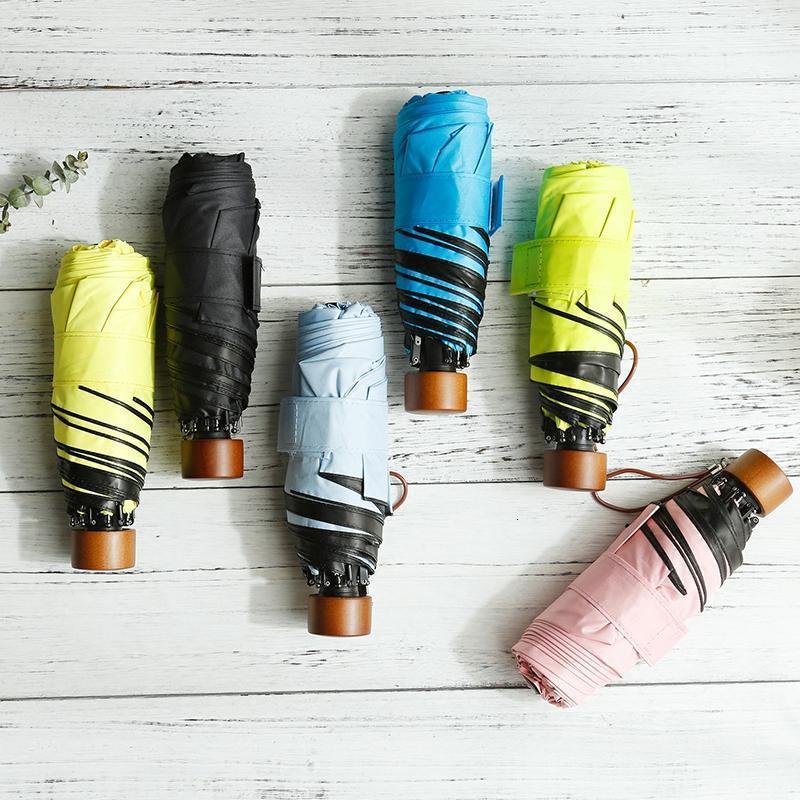 Techome Yüksek Kaliteli Cep Şemsiye Kadınlar Sunnyrainy Mini Moda Katlanır Şemsiye Sun Parasol Umbrella1