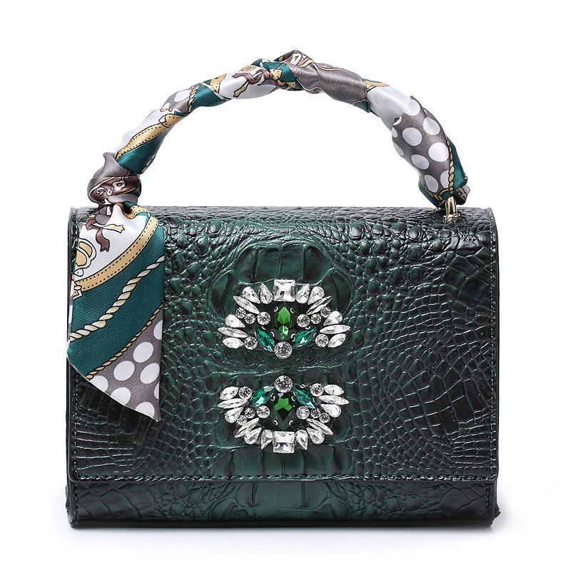 2020 Women Crystal Tote Bag Nice Charming Lady Shoulder Handbag Hot Ins Clutch Purse Crocodile Rectangular Suitcase Q1106