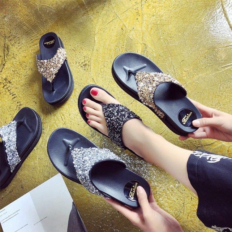 Ms. Flip Flops Wedge Summer New Platform Platform Shoes Sequins Rhinestone Sandals And Slippers Fashion Outer Wear Flops xZcj#