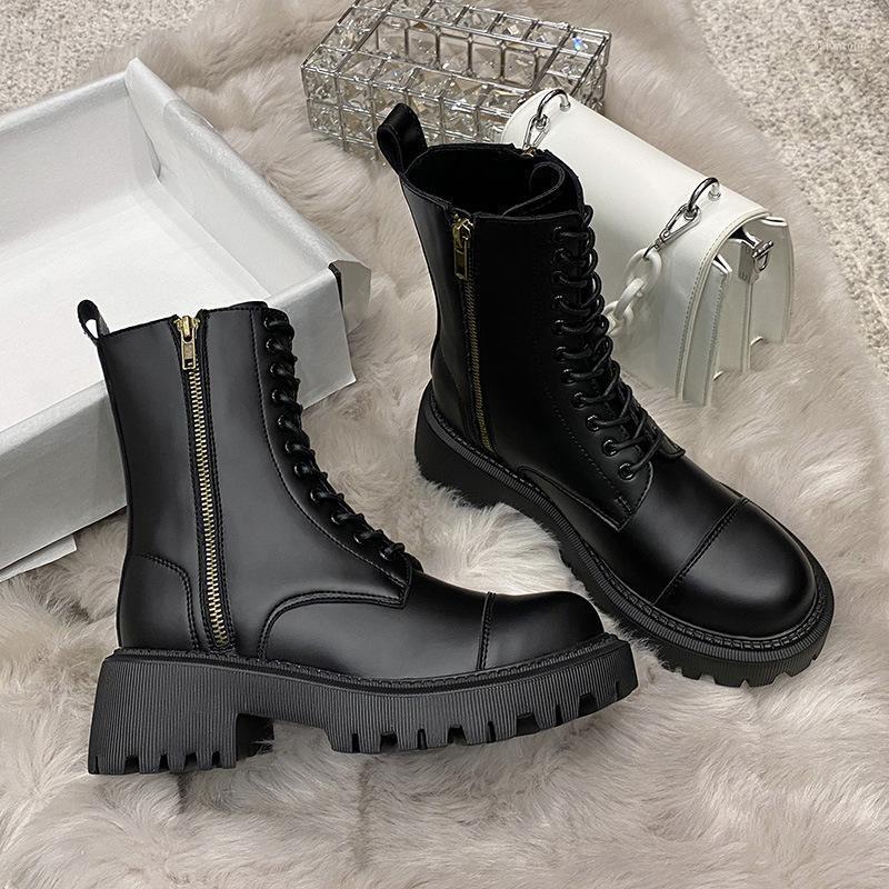 2020 Kış Moda kadın Botları Lace Up Buzağı Yuvarlak Kafa kadın Botları Siyah Orta Topuk Kare Topuk PU Kadınlar Ayakkabı1