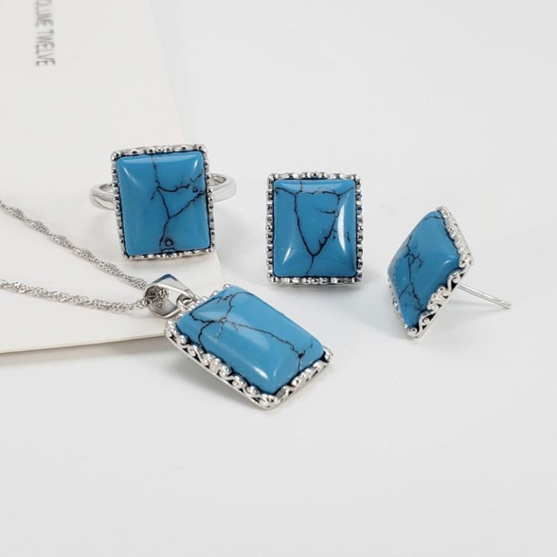 Garantiert 925 Sterling Silber Schmuck Sets Simple Square Turquoise Für Frauen mit natürlichem Edelstein Fine Schmuck F1219