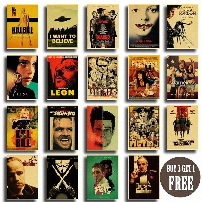 Cartel de la vendimia clásica película Pulp Fiction / Kill Bill / Lucha cartel Retro Club kraft carteles de papel de arte de pintura decorativa 4xj0 #