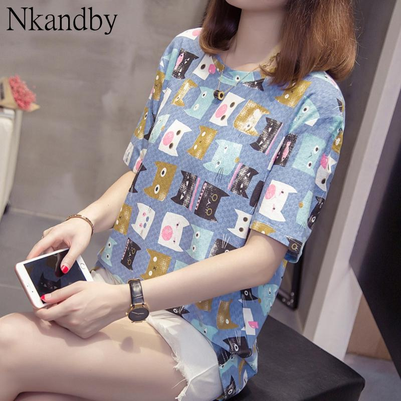 NKANDBY PLUS Размер кошка шаблон футболки летние женщины с коротким рукавом негабаритные футболки 4XL 3XL Femme круглый большой верх T200521