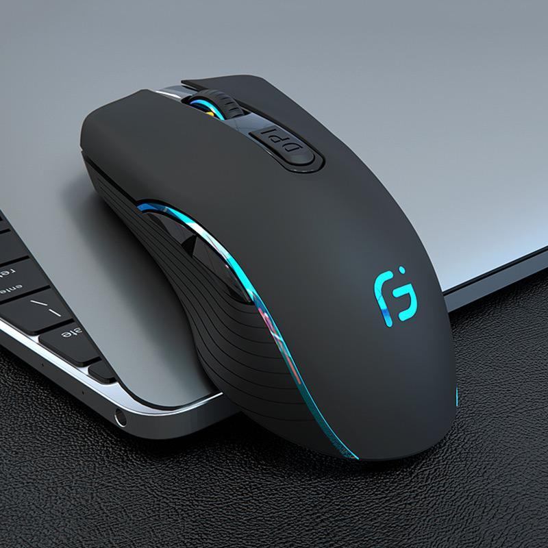 Gaming Wireless Mouse Gamer 2.4GHz Computer Mouse Dual Mode 2400DPI Ergonomic Rechargeable Portable Optical Mice For PC